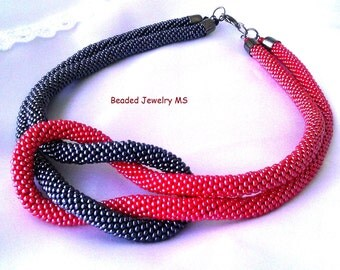 Beaded necklace,  jewelry Ukrainian, red and black