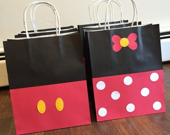 Mickey Mouse & Minnie Mouse bags, Goody Bags, Favor Bags, Birthday Treat bags 10 +pk
