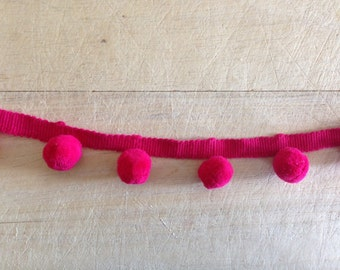 Raspberry Pink Pom Pom Trim 100% cotton