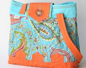Small quilted orange and turquoise tote bag