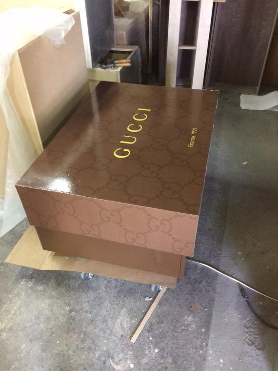 Gucci Large Storage Shoe Box Wood Furniture Custom Made
