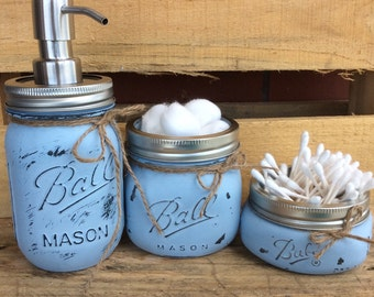 Painted Mason Jars. Mason Jar Bathroom Kit. Home Decor. Bathroom Decor. Gift. Vintage. Rustic. Shabby Chic. Mason Jar Soap Dispenser.