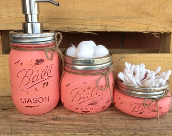 Painted Mason Jars. Mason Jar Bathroom Set. Home and Bathroom Decor. Coral.Vintage. Rustic. Shabby Chic. Mason Jar Soap Dispenser. Gift