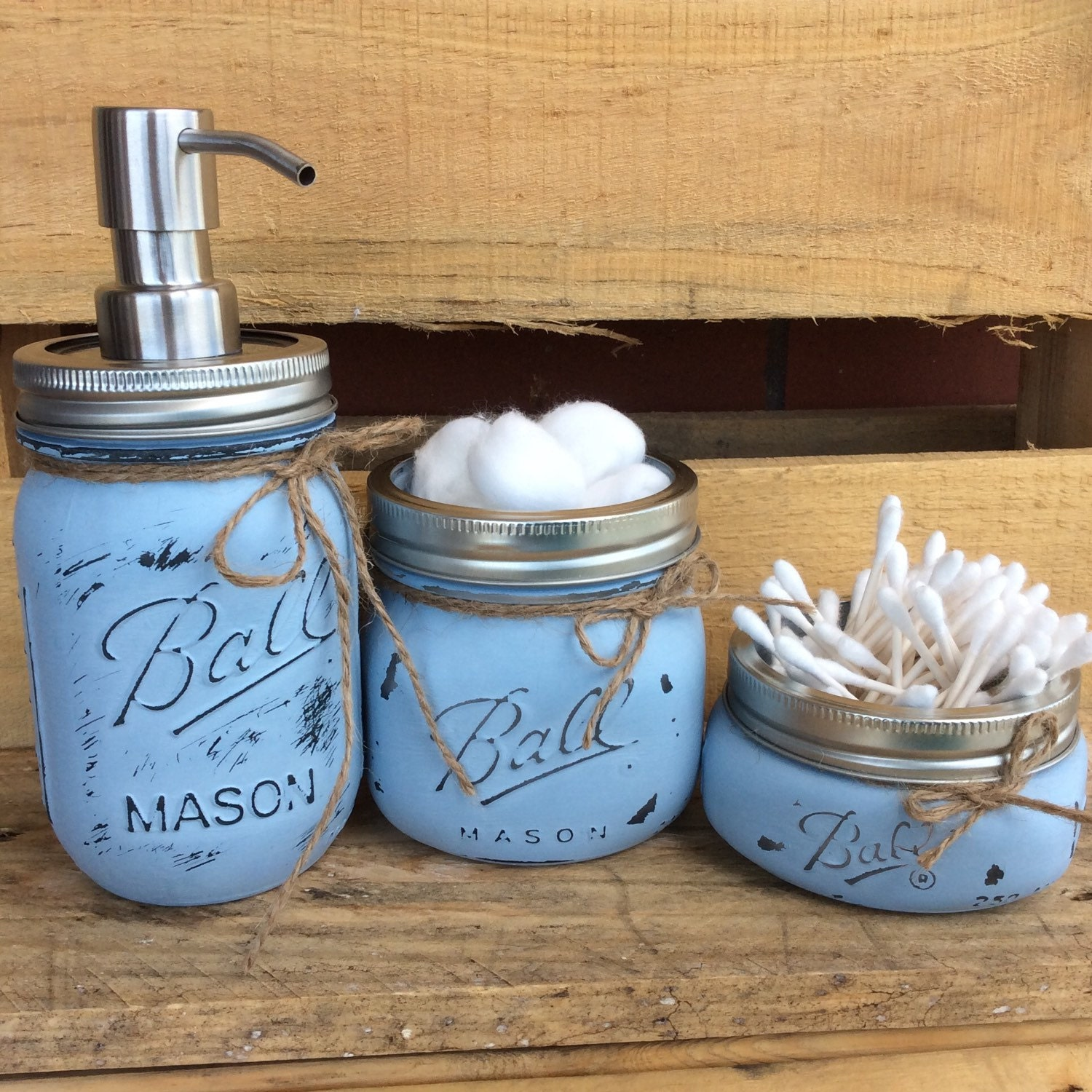 Painted mason jars mason jar bathroom kit home decor for Bathroom decor mason jars