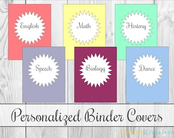Personalized Burst Girly Binder Covers - Notebook Covers - Custom Printable