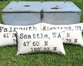 Longitude latitude pillow, custom coordinate pillow, personalized map pillow, linen map pillow, latitude longitude pillow, degree pillow