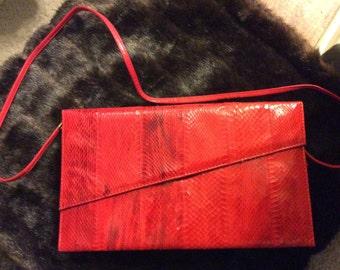 Vintage Jasmin TM Red Snake/Kidskin Shoulder/Clutch Bag