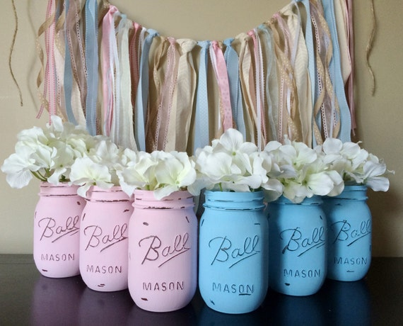 painted mason jars baby shower decor gender reveal decorations
