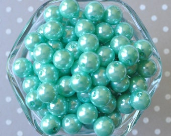 12mm Aqua pearl bubblegum beads, Aquamarine acrylic pearl beads, Small bubblegum beads, Plastic beads for girl's jewelry, Aqua gumball beads