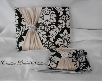 Black and Ivory Damask with Champagne  Wedding Guest Book and Guest Pen Set