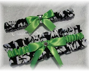 Black and White Damask with Apple Green Wedding Bridal Garter Set