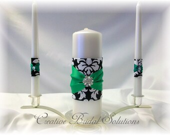 Black and White Damask with Green Wedding Unity Candle Set, Green Unity Candle, Damask Unity Candle, Damask Wedding Unity Candle Set
