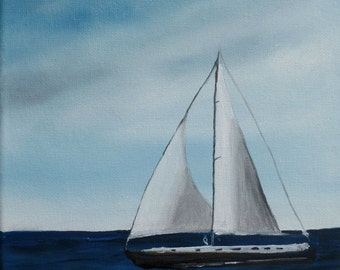 8 x 10 Original Oil Painting - Sailboat Painting - Seascape