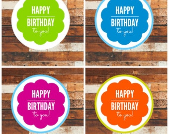 30  Happy birthday sticker ! happy birthday labels, Happy birthday stickers, birthday color stickers