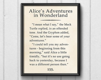 Book Page Wall Art, Alice Adventures in Wonderland Quote Print, Apartment Decor Printable, Different Person Yesterday, Lewis Carroll Quote