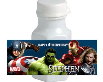 30 Personalized Avenger mini bubble Sticker Labels
