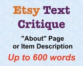 Etsy Text Critique, About Page or Item Description, Up to 600 Words–One-page Custom Etsy Shop Critique