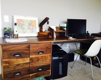 Walnut desk with file cabinets and lockable storage