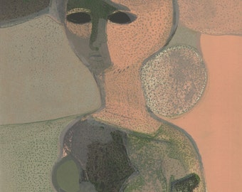 André Minaux (1923-1986) Original Mid-Century Lithograph 'Sandra'