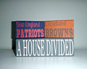 CUSTOM House Divided sports painted wooden blocks
