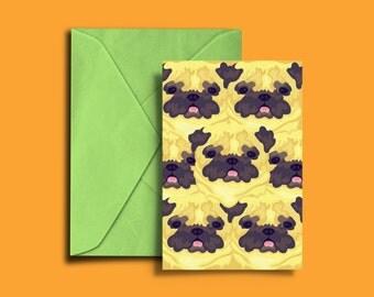 Pug Pattern Postcard