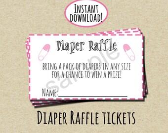 Pink Diaper Raffle Ticket - INSTANT DOWNLOAD - DIY - Printable Tickets