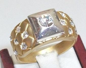 Gold ring with crystals matt gold 19.5 MR100