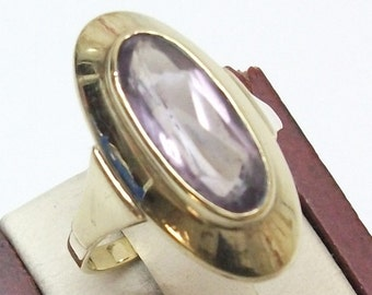 Ring gold 333 with Amethyst vintage elegant GR106