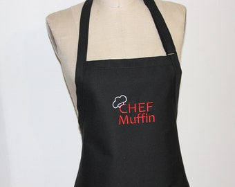 """Personalized Men's Apron with """"Chef and Name"""" -  Mens aprons, mens grilling apron, mens tall aprons, mens BBQ aprons"""