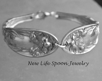 "Spoon Bracelet ""Narcissus"" Vintage Silverware Spoon Handles Handmade Mother's Day Antique Flatware Jewelry Wedding Gift Fork Bracelet---192"