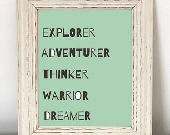 Explorer Adventurer Thinker Warrior Dreamer - Instant Download - girl nursery art, printable art, baby girl room print, toddler room art
