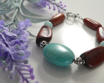 Howlite and Acacia Wood beads, Bali and Sterling Silver.