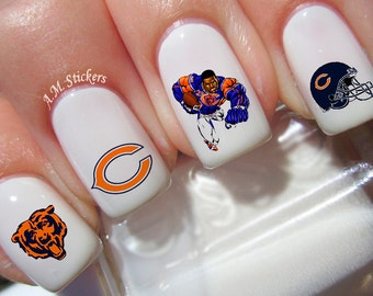 50 Chicago Bears Nail Decals