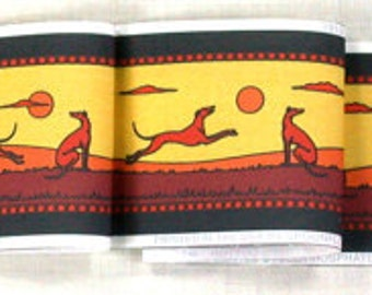 Jane Walker Frolicking Hounds Collar Fabric Strip S-Yellow/Red