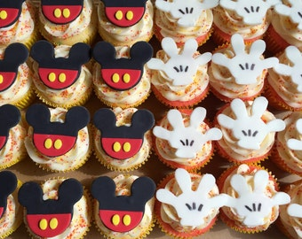 12 Fondant Mickey Mouse cupcake toppers