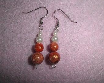Earrings 026 Pumpkin Pearls
