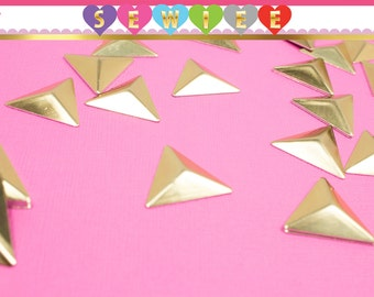 2.5cm Gold Triangle Studs HotFix Glue On | Triangle Studs | Triangle Hotfix | Hotfix Studs | Glue On Studs | Punk | Embellishment  V100