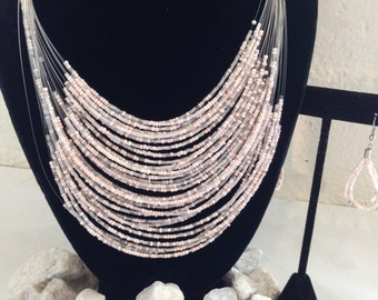 Pink White beaded necklace earring set