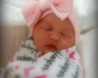 Hospital Hat ~ Baby Beanies ~ Baby Girl First Bow ~ Newborn Beanie ~ Preemie Hat ~ Cotton Hat ~ Cotton Knit Hat ~ Baby Shower Gift