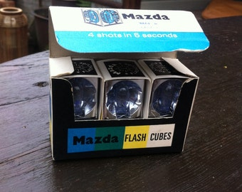 Mazda Flash cubes in original box vintage hipster polaroid 35mm film camera