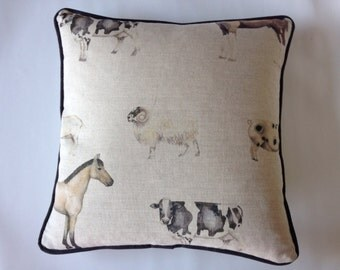 Piped Cushion Cover in Voyage Fabrics Farmyard Linen