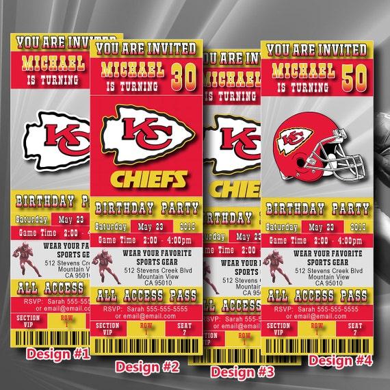 Kansas City Chiefs Birthday Invitation Football By DigiSport