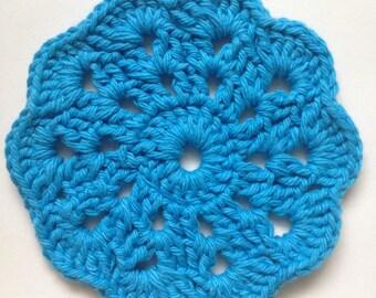 Blue Flower Crochet Coasters - Set of 4