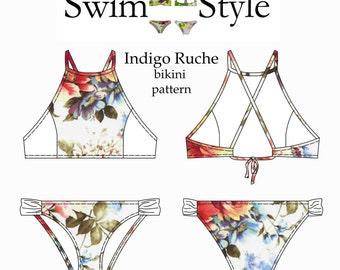 Indigo Ruche Women s Bikini pdf sewing pattern