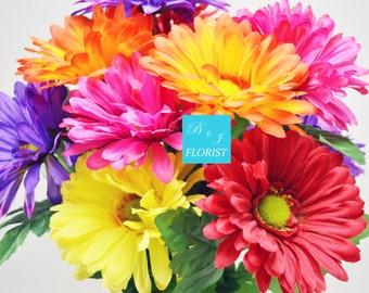 Fall Gerbera Daisy Flowers Bush - Pink Red Yellow Purple Orange - Artificial Silk Flower - Thanksgiving Home Decor