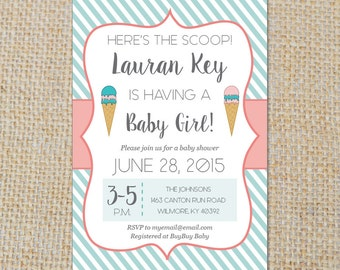 PRINTABLE Ice Cream Social - Baby Girl Shower Invitation