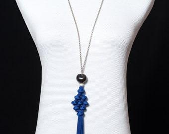 Blue pompon necklace
