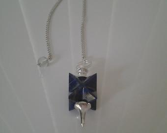 Pendule Herkimère Lapis Lazuli fait à la main **Expédition gratuite au Canada**Free shipping to Canada**