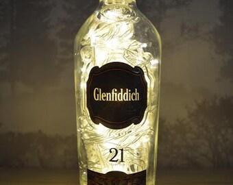 Upcycled Glenfiddich Whisky Bottle Lamp