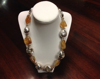 Sterling silver and golden quartz necklace